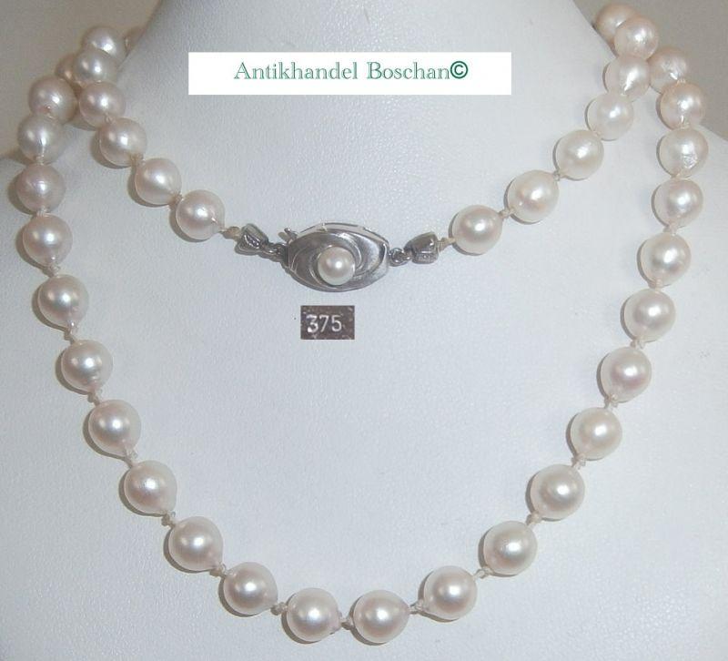 Tolle Perlen-Kette mit Weißgoldschloß aus 375 Weißgold