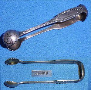 Ausgefallene Gründerzeit Zucker-Zange aus 800er Silber (da4113)