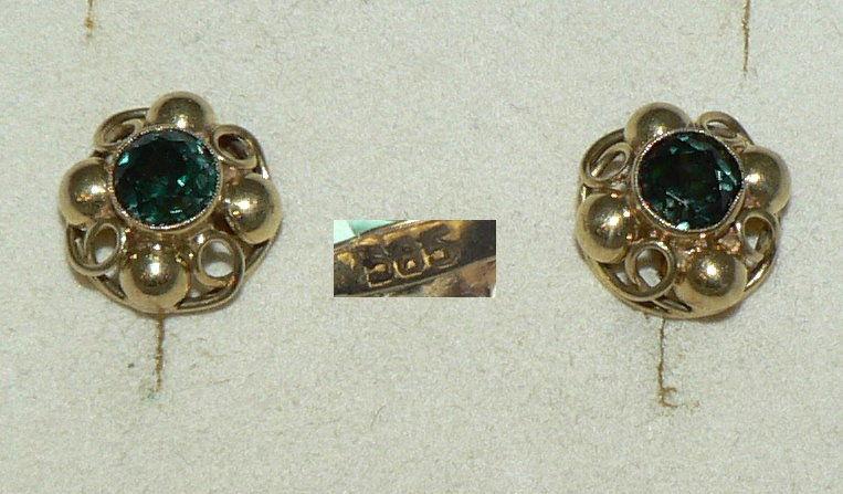 Ohrringe/Stecker aus 585er Gold mit Smaragd    (da4414)