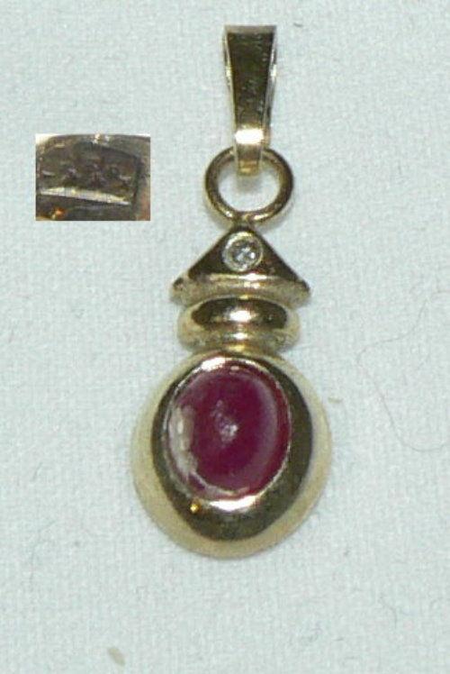 Anhänger aus 333er Gold mit rotem Edelstein und Diamant 0,01 ct.   (da4402)