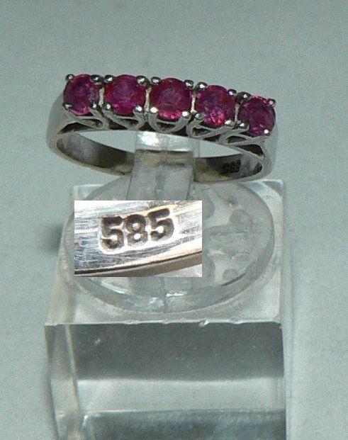 Ring aus 585er Weißgold mit fünf Rubinen, Gr. 52/Ø 16,6 mm  (da4436)