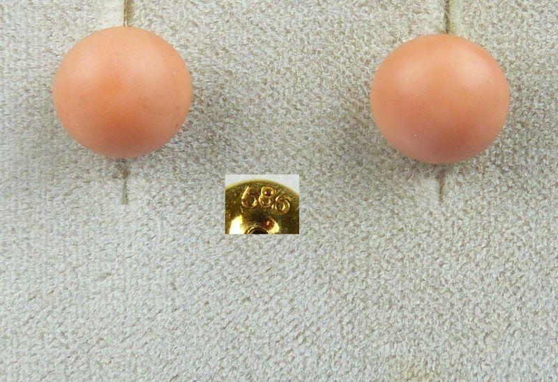 Ohrringe/Stecker aus 585er Gold mit Koralle/Lachskoralle   (da4560)