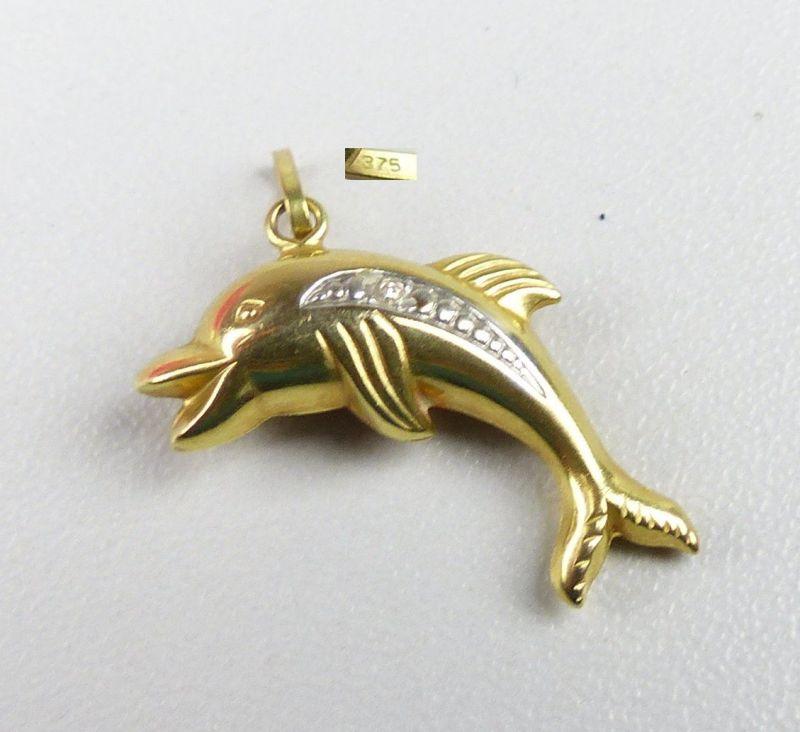Anhänger aus 375er Gold mit Delphin  (da4557)