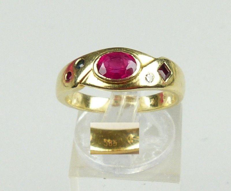 Ring aus 585er Gold Rubin, Diamant, Saphir, Smaragd, Gr. 57/Ø 18,1 mm  (da4591)