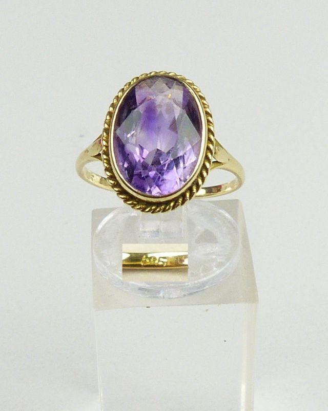 Ring aus 585er Gold mit Amethyst, Gr. 55/Ø 17,5 mm  (da4600)