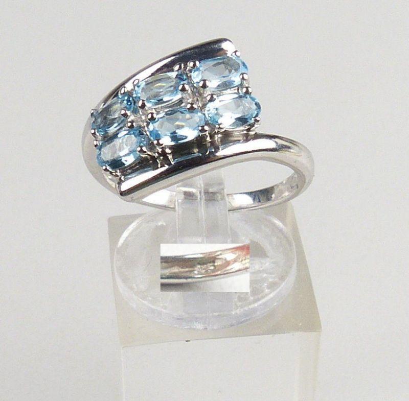 Ring aus 925 Silber mit Aquamarine neuwertig, Gr. 57/Ø 18,1 mm  (da4639)