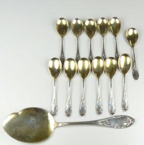 Jugendstil Eis-besteck 13 Teile aus 800er Silber (da4635)
