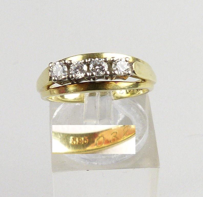 Ring aus 585er Gold mit Diamanten 0,32 ct., Gr. 55/Ø 17,5 mm  (da44169)