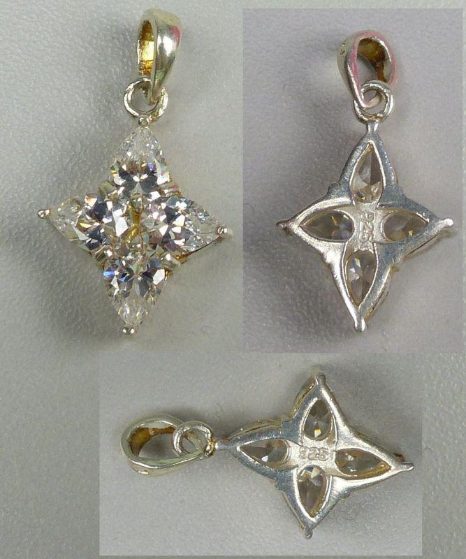 Anhänger aus 925er Silber mit 4 Bergkristallen (da4647)
