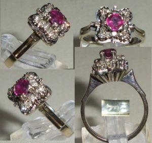 Ring aus 750 Weißgold mit Rubin und vier Diamanten  (da4495) 0