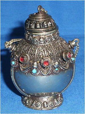 Toller antiker orientalischer Parfümflakon versilbert (da3481)