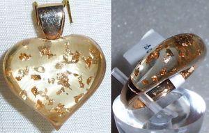 Schmuckset Anhänger + Ring  aus 925 Silber vergoldet aus Geschäftsauflösung