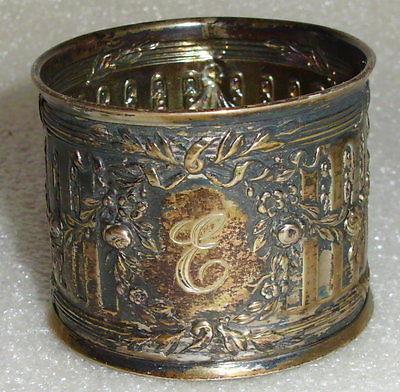 sehr schöner Serviettenring aus Silber mit Monogramm