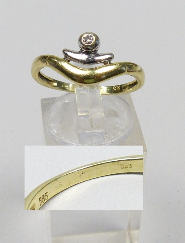 Ring aus 585er Gold mit Diamant 0,03 ct., Gr. 59/Ø 18,8 mm  (da4685)