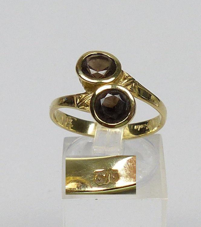 Ring aus 375er Gold mit Rauchquarz, Gr. 60,5/Ø 19,5 mm  (da4519)
