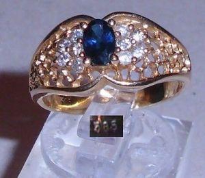 Ring aus 585er Gold mit Saphir und 10 Diamanten, Gr. 55, Ø  17,5 mm (da3768)