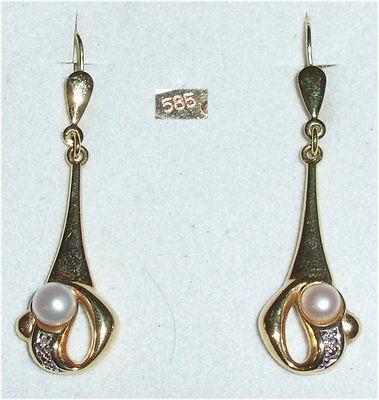 Sehr feine Ohrringe aus 585er Gold mit Perle (da3350)