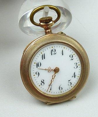 Gründerzeit-Taschenuhr Zylinderuhr Gold              (b8508)