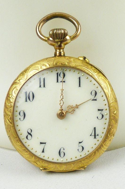 Damen-Taschenuhr aus 585er Gold mit Zylinderwerk, original alt um 1900 (da4754) 0