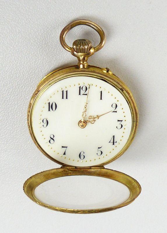 Damen-Taschenuhr aus 585er Gold mit Zylinderwerk, original alt um 1900 (da4754) 1