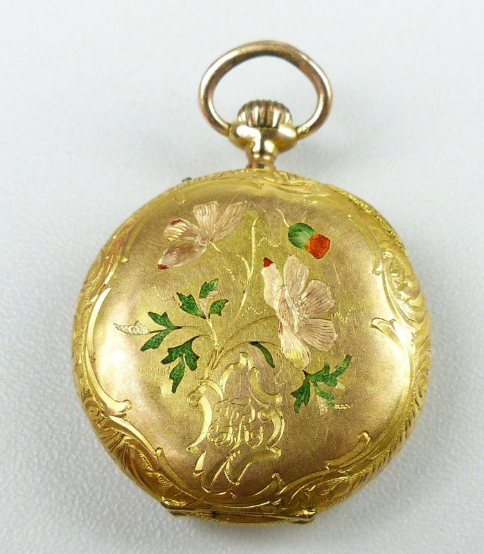 Damen-Taschenuhr aus 585er Gold mit Zylinderwerk, original alt um 1900 (da4754) 2