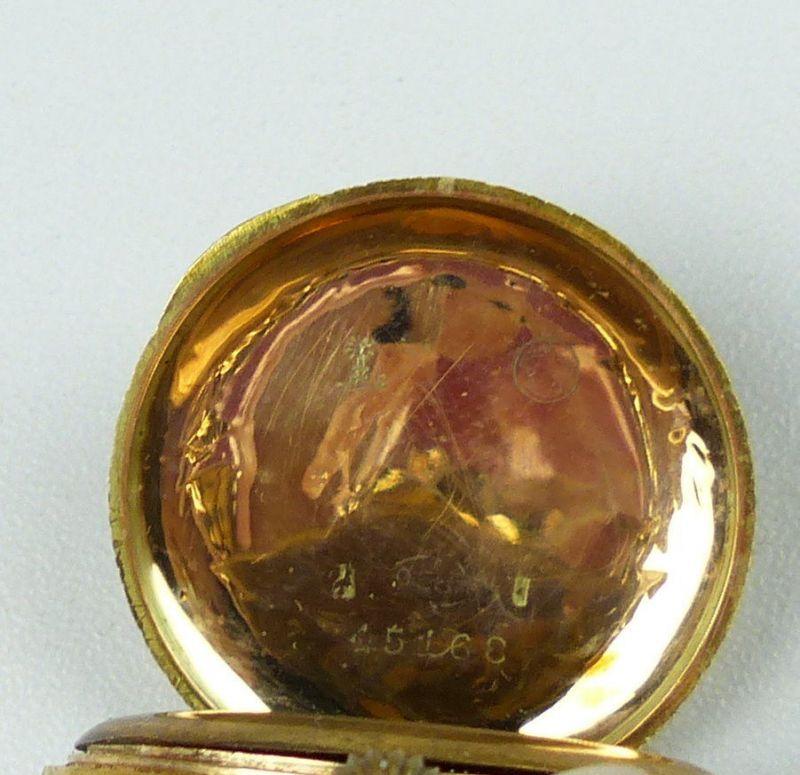 Damen-Taschenuhr aus 585er Gold mit Zylinderwerk, original alt um 1900 (da4754) 3