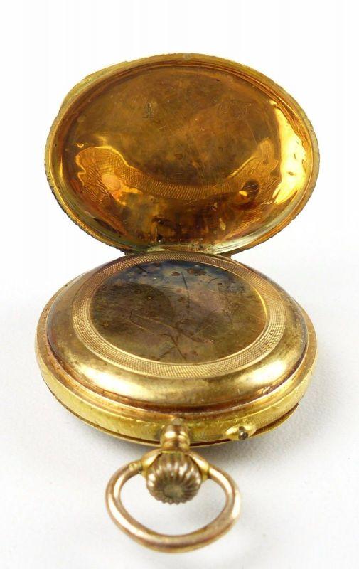 Damen-Taschenuhr aus 585er Gold mit Zylinderwerk, original alt um 1900 (da4754) 4