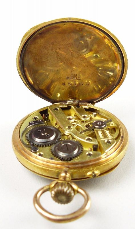 Damen-Taschenuhr aus 585er Gold mit Zylinderwerk, original alt um 1900 (da4754) 5
