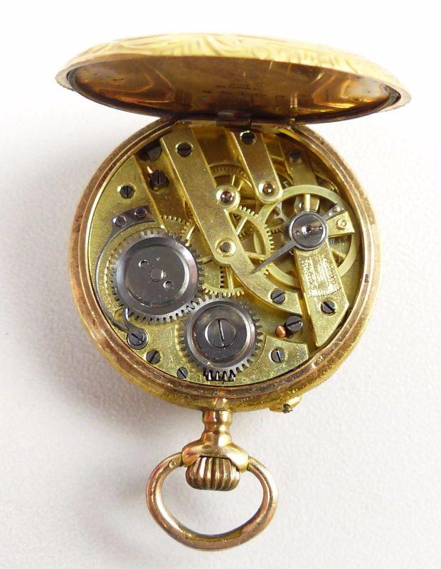 Damen-Taschenuhr aus 585er Gold mit Zylinderwerk, original alt um 1900 (da4754) 6