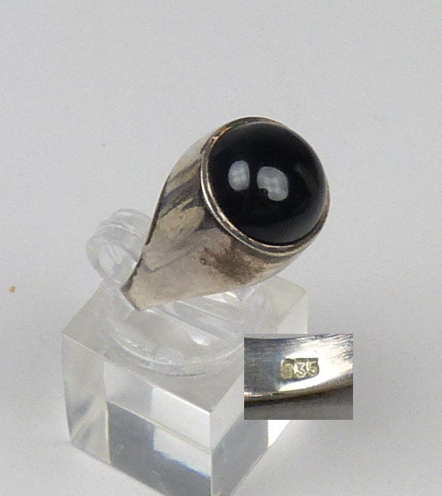 Ring aus 925 Silber mit Onyx, Gr. 56/Ø 17,8 mm  (da4778)