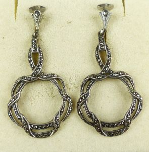 Ohrringe/Clips aus 835er Silber mit Markasiten   (da4504)
