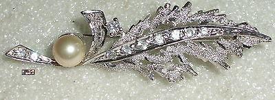 Tolle alte Brosche aus 925er Silber mit Perle (da3607)
