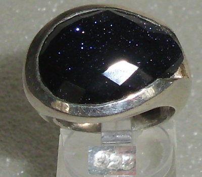 Ring aus 925er Silber mit tief dunkelblauem Stein,  Gr. 58, Ø 18,5 mm (da3603)