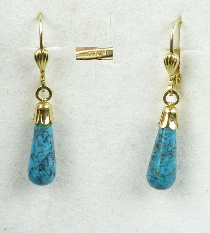 Ohrringe aus 585er Gold mit  Türkis  (da4564)