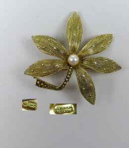 ORIGINAL FAHRNER Brosche 925er Silber vergoldet m. Perle u. Markasiten  (da4887)