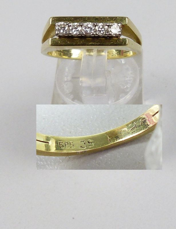 Ring aus 585er Gold mit Diamanten 0,25 ct., Gr. 54/Ø 17,2 mm  (da4884)