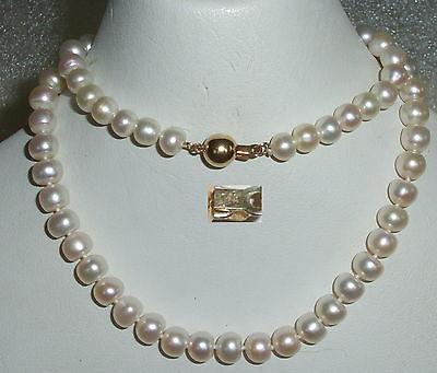 Alte sehr schöne Perlen-Kette mit Schloß aus 585er Gold (da3582)
