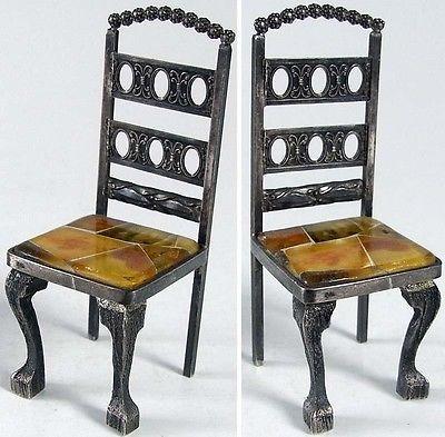 Seltener Puppenspielzeug Stuhl Handarbeit 925 er Silber (si0464)