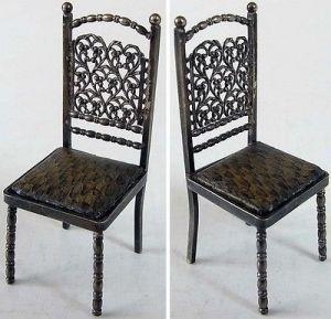 Seltener Puppenspielzeug Stuhl mit Bezug 925 er Silber si0455