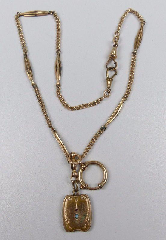 Uhrenkette aus Doublé mit Anhänger mit Opal und Rubin  (da4896)