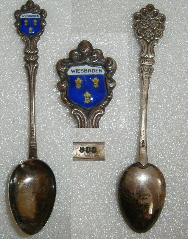Sammler-Löffel WIESBADEN aus 800 Silber mit Wappen aus Emaille