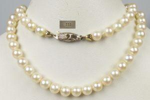 Zucht-Perlen-Kette mit Verschluß aus 333er Weißgold  (da4977)