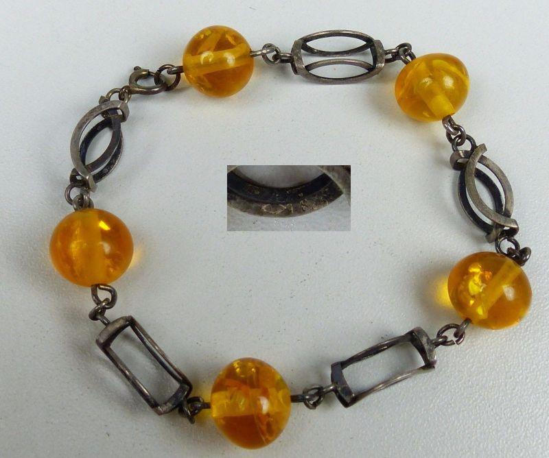 Armband aus 835er Silber mit Bernstein/Amber-Imitat          (da4963)