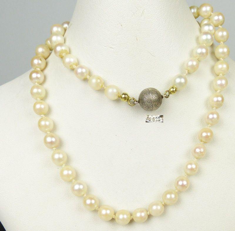 alte Perlen-Kette mit Magnetverschluß aus 925er Silber (da5124)