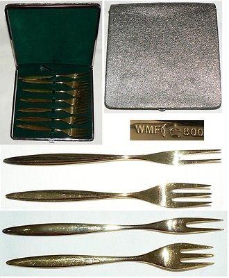 6 Kuchengabeln + 1 Vorl 800 Silber vergoldet WMF in OVP