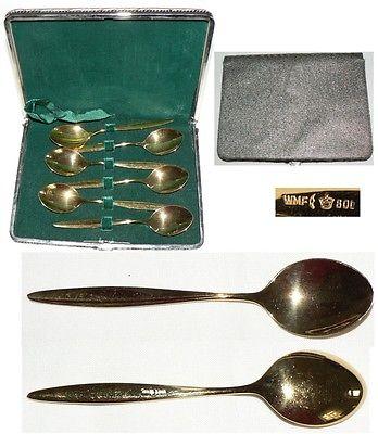 6 Mokkalöffel 800 Silber vergoldet WMF in OVP