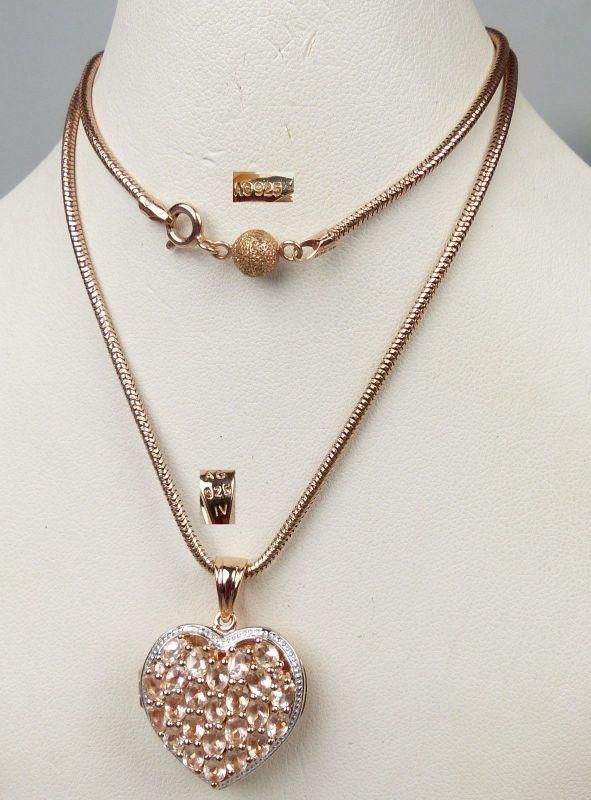 Herz mit Champagnerkristallen und Kette aus 925er Silber vergoldet   (da5082)