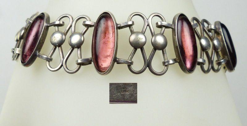 Collier aus 333er Gold mit Turmalin, Aquamarin, Zirkonia u. Amethyst   (da5080)