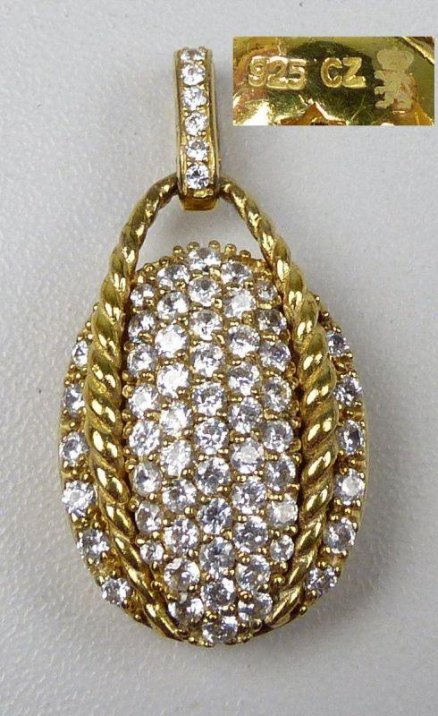 sehr schöner Anhänger aus 925er Silber vergoldet mit weißen Steinen  (da5067)