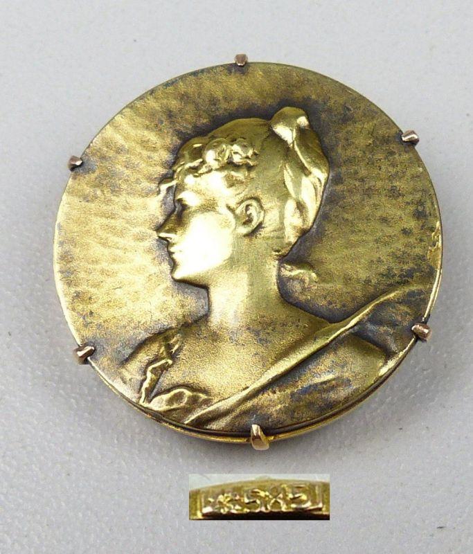Sehr feine Jugendstil-Brosche aus 585er Gold       (da5056)